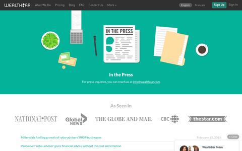 Screenshot of Press Page wealthbar.com - WealthBar - WealthBar in the News - captured Feb. 28, 2016