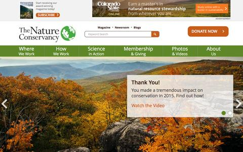 Screenshot of Home Page nature.org - Nature Conservancy | Protecting Nature, Preserving Life - captured Nov. 23, 2015