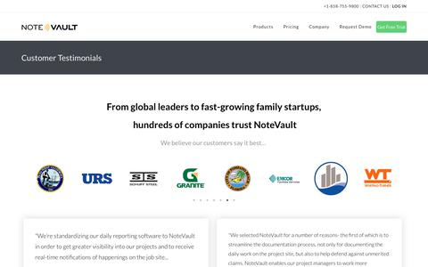 Screenshot of Testimonials Page notevault.com - Customer Testimonials - NoteVault - captured July 3, 2019