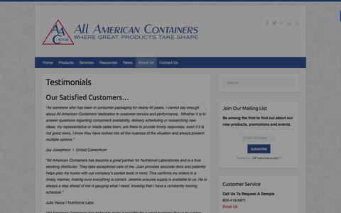 Screenshot of Testimonials Page allamericancontainers.net - Testimonials | AAC So Cal - captured Jan. 31, 2016