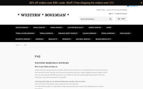 Screenshot of FAQ Page organicearrings.com - How to put on wood earrings and tribal earrings | WESTERN BOHEMIAN - captured July 11, 2018