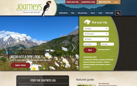 Screenshot of Home Page journeys.travel - Journeys International - captured Oct. 4, 2014