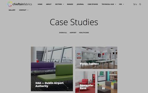Screenshot of Case Studies Page chieftainfabrics.com - Case Studies - Chieftain Fabrics - captured July 17, 2018