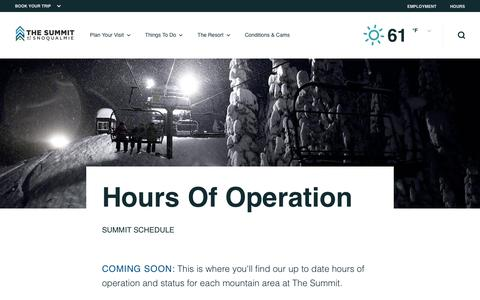 Screenshot of Hours Page summitatsnoqualmie.com - Hours of Operation | Summit at Snoqualmie - captured Oct. 19, 2018