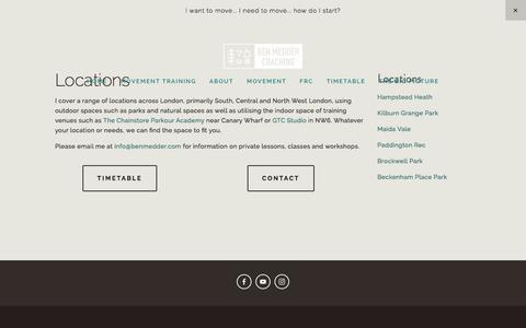 Screenshot of Locations Page benmedder.com - Locations — Ben Medder - captured Oct. 25, 2016