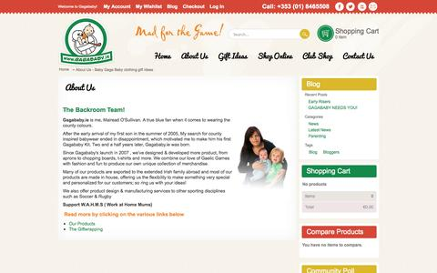 Screenshot of About Page gagababy.ie - About Us - Baby Gaga Baby clothing gift Ideas - captured Oct. 1, 2014