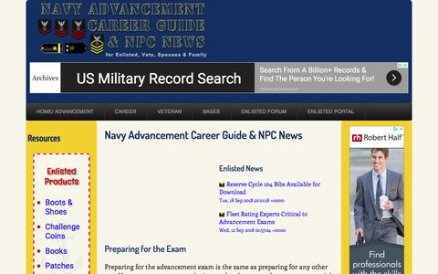 Screenshot of Home Page navyadvancement.com - Navy Advancement Career Guide and NPC News - captured Sept. 22, 2018