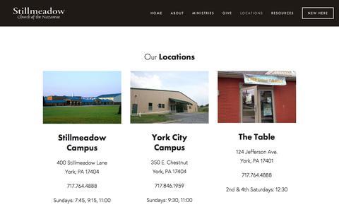 Screenshot of Locations Page stillnaz.com - Stillmeadow - captured Dec. 3, 2016