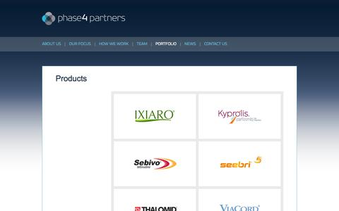 Screenshot of Products Page phase4-partners.com - Phase4 Partners   Portfolio - Products - captured Sept. 29, 2014