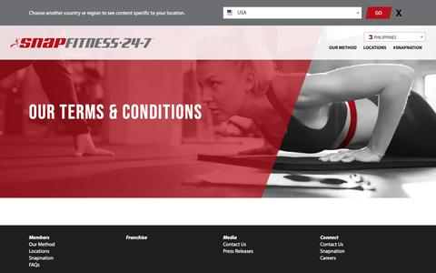 Screenshot of Terms Page snapfitness.com - Terms & Conditions – Snap Fitness Philippines - captured Oct. 21, 2018