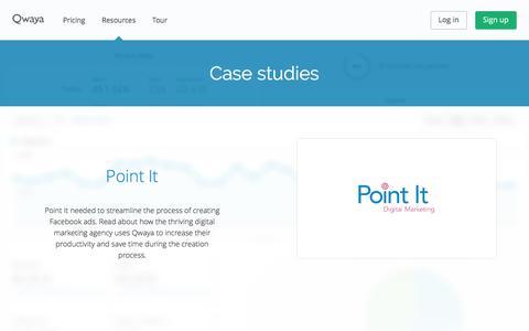 Screenshot of Case Studies Page qwaya.com - Facebook Ad Manager - Online Marketing Tool - Qwaya - captured June 7, 2017