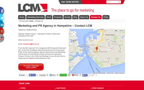 Screenshot of Contact Page lcm.co.uk - Marketing, Branding and PR Agency in Hampshire – Contact LCM - captured Sept. 26, 2014
