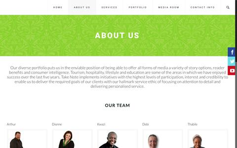 Screenshot of About Page take-note.co.za - ABOUT US | Take Note - captured Nov. 28, 2016