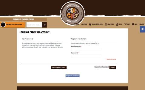 Screenshot of Login Page crazycups.com - Customer Login - captured Sept. 30, 2014