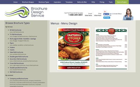 Screenshot of Menu Page brochuredesignservice.com - Menu Design - Designers, Samples, Templates, Layout - captured Aug. 4, 2018