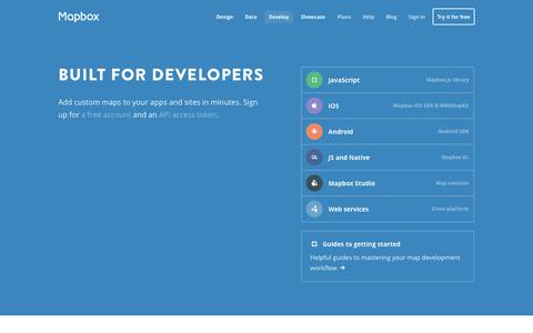 Screenshot of Developers Page mapbox.com - Developers | Mapbox - captured Sept. 12, 2014