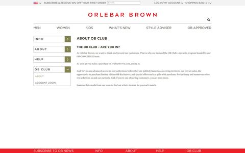 Screenshot of About Page orlebarbrown.com - About OB Club - captured Sept. 12, 2014