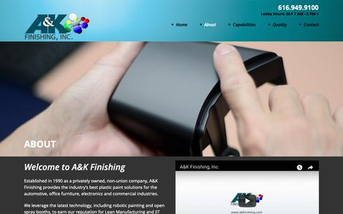 Screenshot of About Page akfinishing.com - About - A&K Finishing - captured Sept. 30, 2018