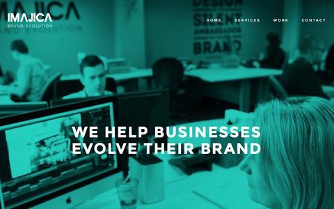 Screenshot of Home Page imajica.com - We are Imajica Brand Evolution; Scottish branding, design and web experts - captured Feb. 10, 2016
