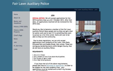 Screenshot of Signup Page fairlawnauxpolice.com - Fair Lawn Auxiliary Police - Join - captured Oct. 5, 2014