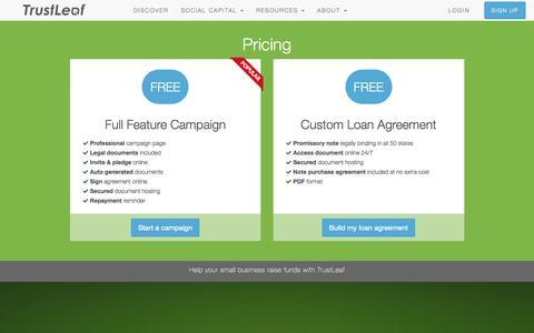 Screenshot of Pricing Page trustleaf.com - Pricing   TrustLeaf - captured Oct. 6, 2015