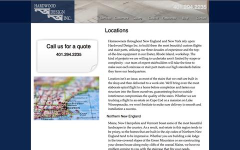 Screenshot of Locations Page hdistair.com - Hardwood Design - Our Area - captured Oct. 2, 2014