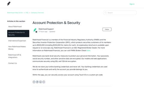 Account Protection & Security – Robinhood Help Center