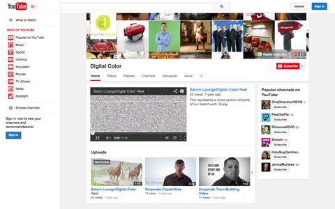 Screenshot of YouTube Page youtube.com - Digital Color  - YouTube - captured Oct. 23, 2014