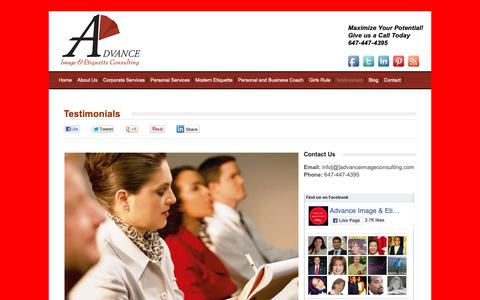 Screenshot of Testimonials Page advanceimageconsulting.com - Testimonials - Advance Image Consulting - captured Oct. 3, 2018