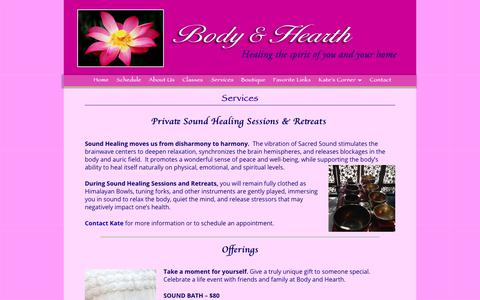 Screenshot of Services Page bodyandhearth.com - Services - Kate Casey - Body & Hearth - captured Sept. 28, 2018