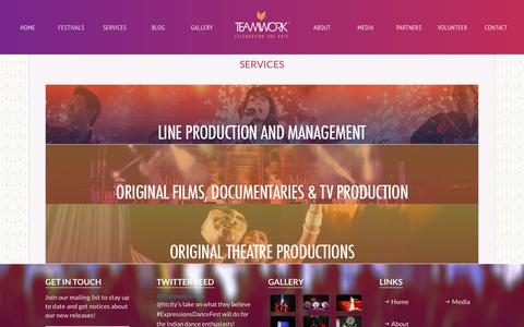 Screenshot of Services Page teamworkarts.com - Services   Teamwork Arts - captured April 9, 2016