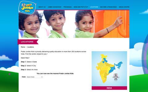Screenshot of Locations Page jumbokids.com - Contact us for More Information – Podar Jumbo Kids - captured Sept. 28, 2018