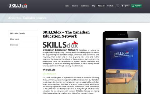 Screenshot of About Page skillsdox-courses.com - About Us - Skillsdox CoursesSkillsdox Courses - captured April 10, 2016
