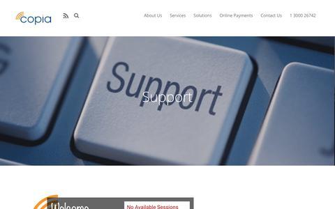 Screenshot of Support Page copia.com.au - Support - Copia - captured Sept. 29, 2018