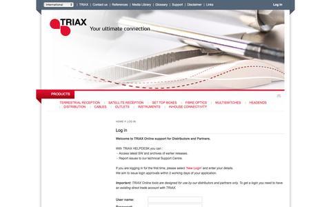 Screenshot of Login Page triax.com - Triax - Log in - captured Feb. 25, 2016
