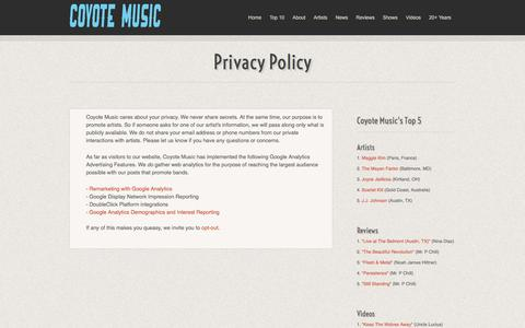Screenshot of Privacy Page coyotemusic.com - Privacy Policy :: Coyote Music - captured July 21, 2018