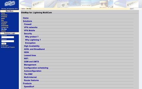 Screenshot of Site Map Page lightning.ch - Lightning MultiCom - captured Sept. 28, 2018