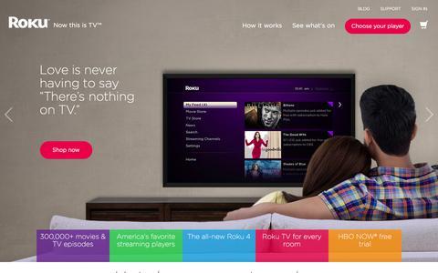 Screenshot of Home Page roku.com - Roku   Streaming TV & Media Player - captured Feb. 7, 2016