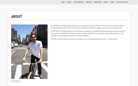 Screenshot of About Page bicyclefilmfestival.com - ABOUT - captured July 20, 2019
