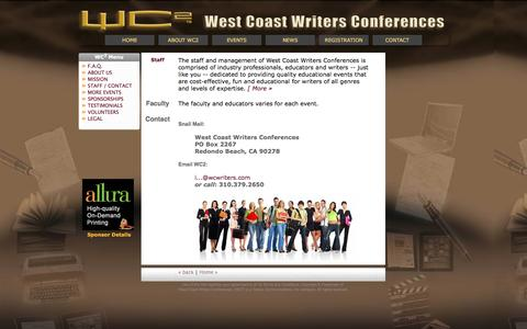 Screenshot of Contact Page wcwriters.com - West Coast Writers Conferences | Contact Us - captured June 19, 2016