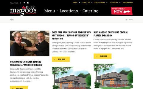 Screenshot of Press Page hueymagoos.com - News | Huey Magoo's Chicken Tenders - captured Sept. 24, 2018