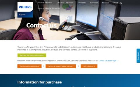 Screenshot of Contact Page philips.com - Philips Healthcare | Contact us - captured May 28, 2016