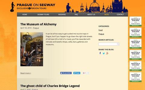 Screenshot of Blog pragueonsegway.com - Blog Prague On Segway | PragueOnSegway.com - captured July 15, 2016