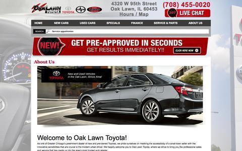 Screenshot of About Page oaklawntoyota.com - About Oak Lawn Toyota a Oak Lawn IL dealership - captured Oct. 27, 2014