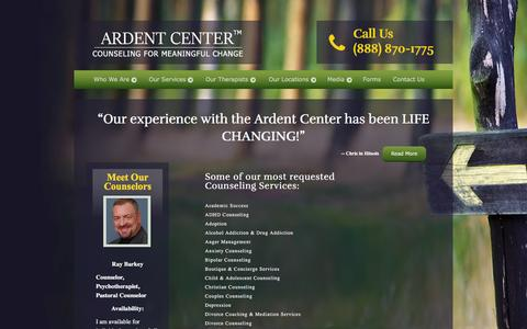 Screenshot of Services Page ardentcenter.com - Couples Counseling | Ardent Center - captured Feb. 6, 2016
