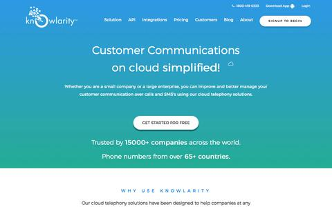 Cloud Telephony, IVR services, Call Center, Virtual Number by Knowlarity