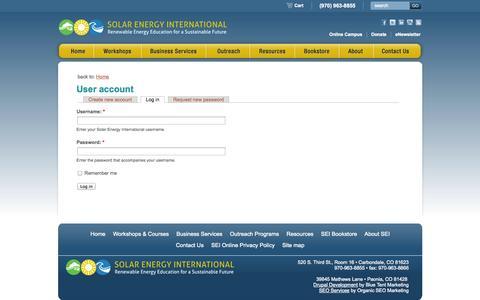 Screenshot of Login Page solarenergy.org - User account - Solar Energy International - captured Sept. 19, 2014