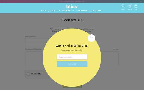 Screenshot of Contact Page blissworld.com - Contact Us - captured Oct. 3, 2018