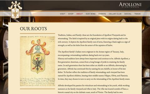 Screenshot of About Page apolloni.com - Apolloni Vineyards –   Our Roots - captured Feb. 6, 2016