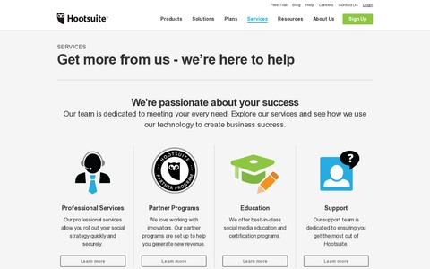 Screenshot of Services Page hootsuite.com - Our Services - captured July 20, 2014
